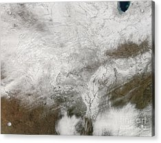 Satellite View Of A Severe Winter Storm Acrylic Print by Stocktrek Images