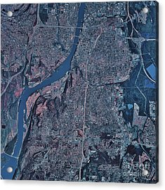 Satellite View Of Little Rock, Arkansas Acrylic Print by Stocktrek Images