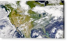 Satellite View Of North America Acrylic Print by Stocktrek Images