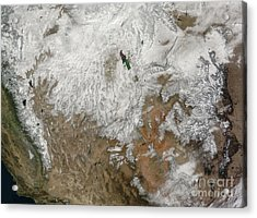 Satellite View Of The Western United Acrylic Print by Stocktrek Images