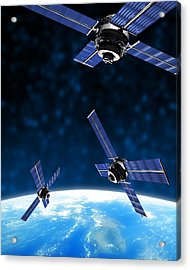 Satellites Orbiting Earth, Artwork Acrylic Print by Victor Habbick Visions