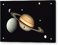 Saturn And Satellites Acrylic Print by John Foxx