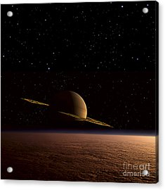 Saturn Floats In The Background Acrylic Print