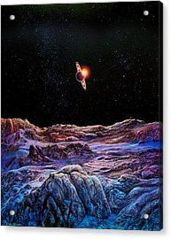 Saturn From Iapetus Acrylic Print by Don Dixon
