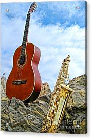 Sax And Guitar Acrylic Print by Jason Abando