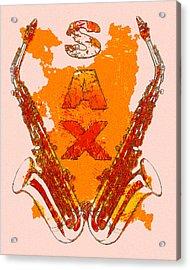 Sax Acrylic Print by David G Paul