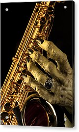 Saxophone Monster Hand Acrylic Print by M K  Miller