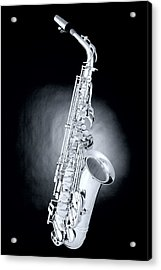 Saxophone On Spotlight Acrylic Print by M K  Miller