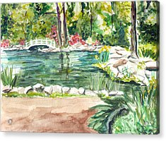Acrylic Print featuring the painting Sayen Pond by Clara Sue Beym
