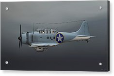 Acrylic Print featuring the digital art Sbd Dive Bomber by Walter Colvin