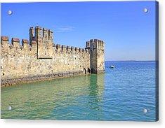 Scaliger Castle Wall Of Sirmione In Lake Garda Acrylic Print by Joana Kruse