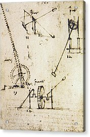 Scaling Ladder By Leonardo Da Vinci Acrylic Print by