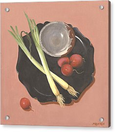 Scallions And Radishes Acrylic Print by Meredith Dytch