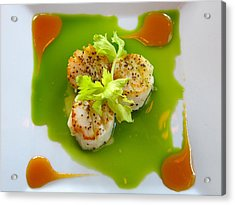 Scallops In Green Sauce Acrylic Print by Kathryn Barry