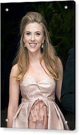 Scarlett Johansson Wearing A Miu Miu Acrylic Print by Everett