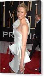 Scarlett Johansson Wearing An Armani Acrylic Print by Everett