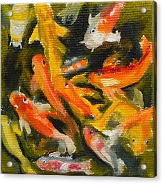 School Of Koi Acrylic Print by Jessmyne Stephenson