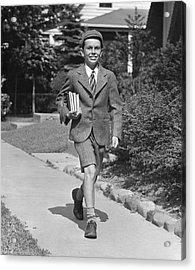 Schoolboy On Sidewalk Acrylic Print by George Marks