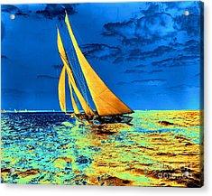Schooner Ariel's Golden Sails 1899 Acrylic Print by Padre Art
