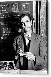 Scientist By Blackboard Covered In Equations (b&w) Acrylic Print by Hulton Archive