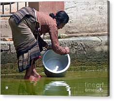 Acrylic Print featuring the photograph Scrub Day- Nepal by Louise Peardon