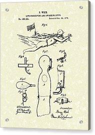 Scuba Suit 1876 Patent Art Acrylic Print