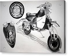 Acrylic Print featuring the drawing Scull Scooter by Lynn Hughes