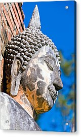 Sculpture Buddha Face Texture Detail Acrylic Print by Chatuporn Sornlampoo