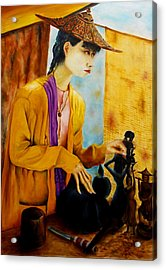 Acrylic Print featuring the painting Sculpturer by Itzhak Richter
