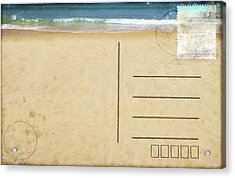 Sea Beach On Postcard  Acrylic Print by Setsiri Silapasuwanchai