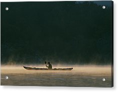 Sea Kayak Silhouette On Potomac River Acrylic Print by Skip Brown