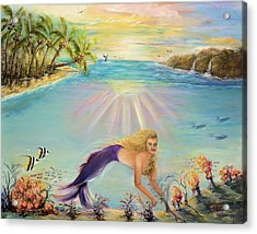 Acrylic Print featuring the painting Sea Mermaid Goddess by Bernadette Krupa