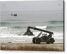 Seabee Loader And Powered Causeway Acrylic Print by Michael Wood