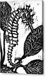 Seahorse Block Print Acrylic Print by Ellen Miffitt