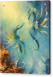 Seahorses In Love 4 Acrylic Print by Dina Dargo