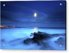 Seascape And Moonrise Acrylic Print by Angus Clyne