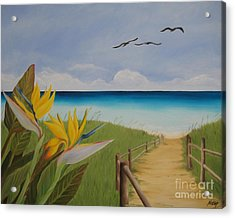 Acrylic Print featuring the painting Seascape by Jindra Noewi