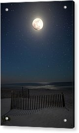Seaside Moonset Acrylic Print by Charles Warren