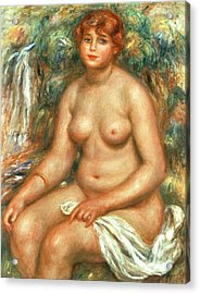 Seated Bather Acrylic Print by Pierre Auguste Renoir