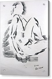 Acrylic Print featuring the drawing Seated Male by Brian Sereda