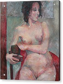 Seated Nude Acrylic Print by Susanne Clark