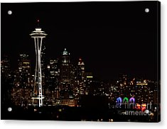 Seattle At Night Acrylic Print by Alan Clifford