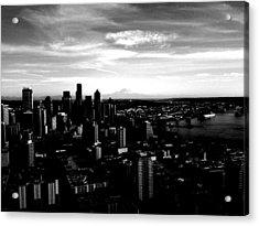 Seattle Cityscape Black And White Acrylic Print