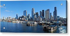 Seattle Skyline From Puget Sound Acrylic Print by Twenty Two North Photography
