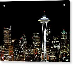 Seattle Skyline With Space Needle Acrylic Print by Tim Ford
