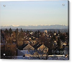 Seattle Suburb In Winter Acrylic Print by Silvie Kendall
