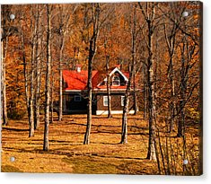 Secluded Red Roof Cottage In An Autumn Scene Acrylic Print by Chantal PhotoPix