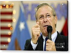 Secretary Of Defense Donald H. Rumsfeld Acrylic Print by Stocktrek Images