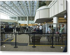 Security Area At Orlando Airport Florida Acrylic Print by Mark Williamson