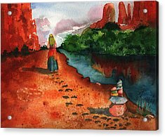 Sedona Arizona Spiritual Vortex Zen Encounter Acrylic Print by Sharon Mick